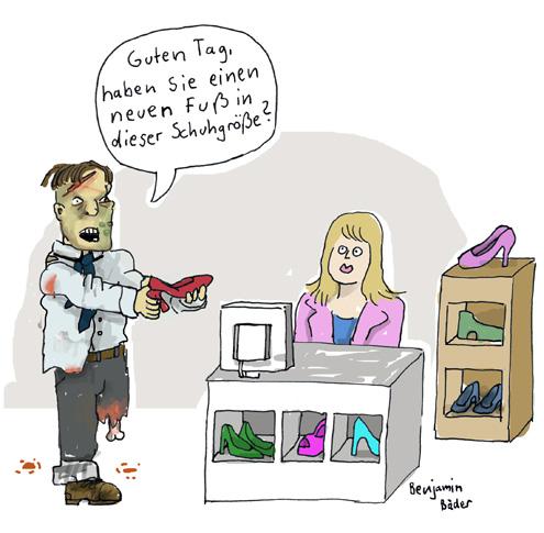 Zombie im Schuhgeschäft